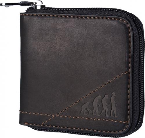 Мужское портмоне на молнии из натуральной итальянской кожи легкой обработки, черного цвета, очень приятной на ощупь